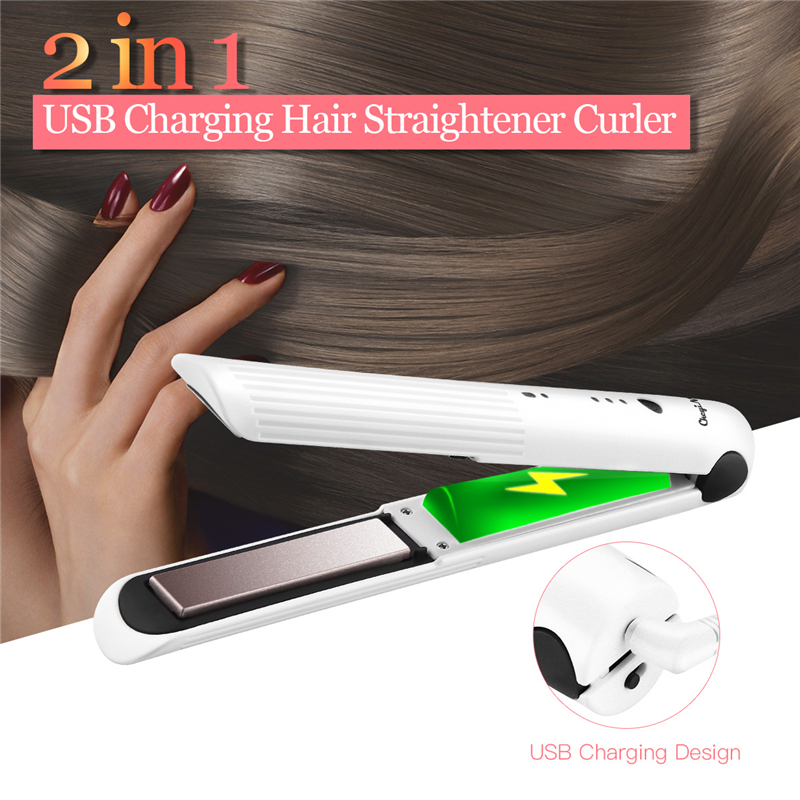 Cordless Mini Flat Iron Rechargeable 2 In 1 Hair Straightener Hair Curler 3D Floating Plates Straightening Iron Curling Wand 45