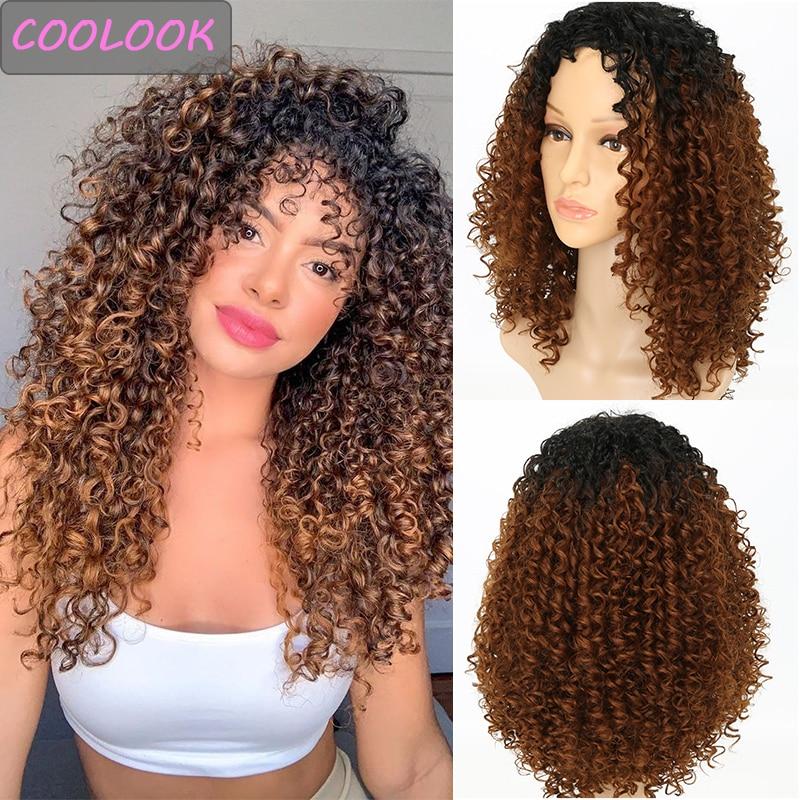 Perruque bouclée Afro longue de 18 pouces perruque brune bouclée naturelle pour les femmes noires Fibre synthétique résistant à la chaleur Cosplay Lolita boucles perruque