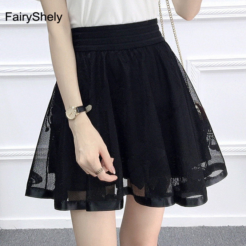 2020 Pleated Mesh Short Skirt Women Summer Elastic Band Floral Tulle High Waist Lace Skirt Lady Black Flare Tutu Ball Gown