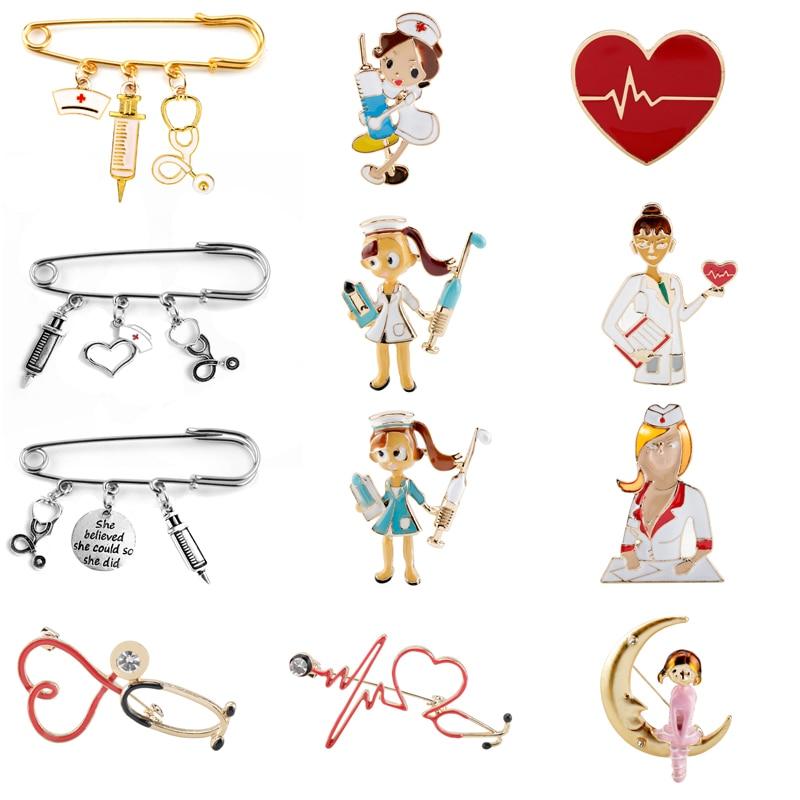 17 styles Nurse Cap Medical Brooch Enamel pin Needle Syringe Stethoscope Pendants Buckle Pin Creative Jewelry Doctor Nurse Gift