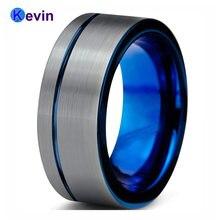 Синий Для мужчин кольцо Вольфрам s обручальное офсетная печать