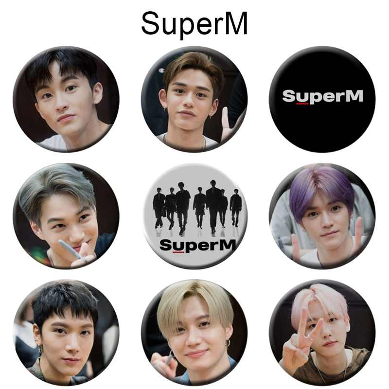 KPOP SUPER M Badge Broche 58MM BAEKHYUN MARK TIEN KAI LUCAS TAEMIN SuperM SHINee EXO GOT7