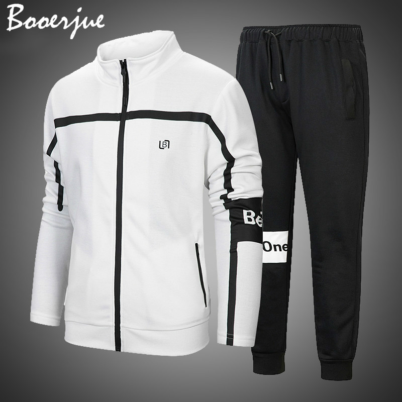 2020 Brand Tracksuit Men Set Autumn Hoodies Male Sweatshirt Solid Sweatpants Fashion Trousers High Street Zipper Jackets Sets