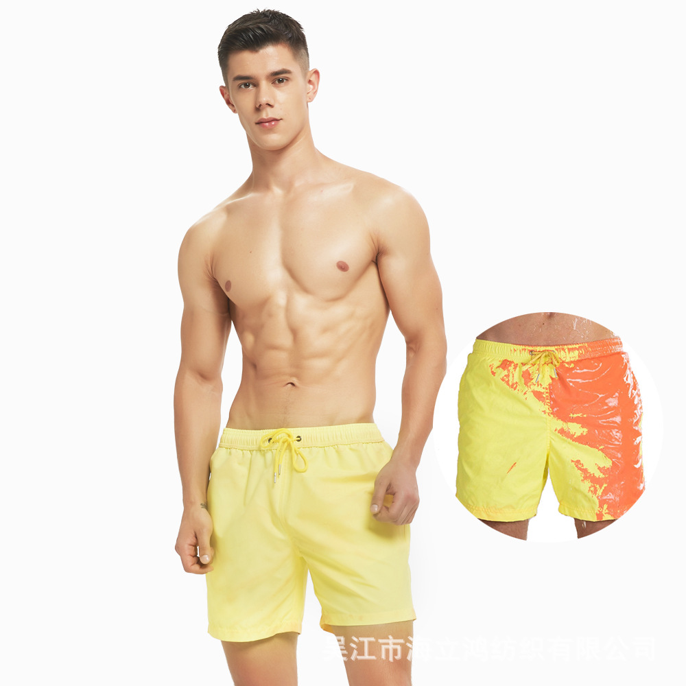 Europe And America Station Hot Selling Water Color Changing Beach Shorts Men's Large Size Swimming Trunks Temperature Detector C