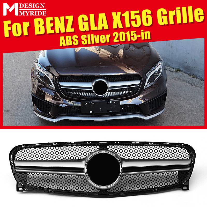 X156 GLA Sport grille grill ABS Silver GLA45 Look For MercedesMB Class Sports GLA180 200 250 grills Without Sign 2014-2016