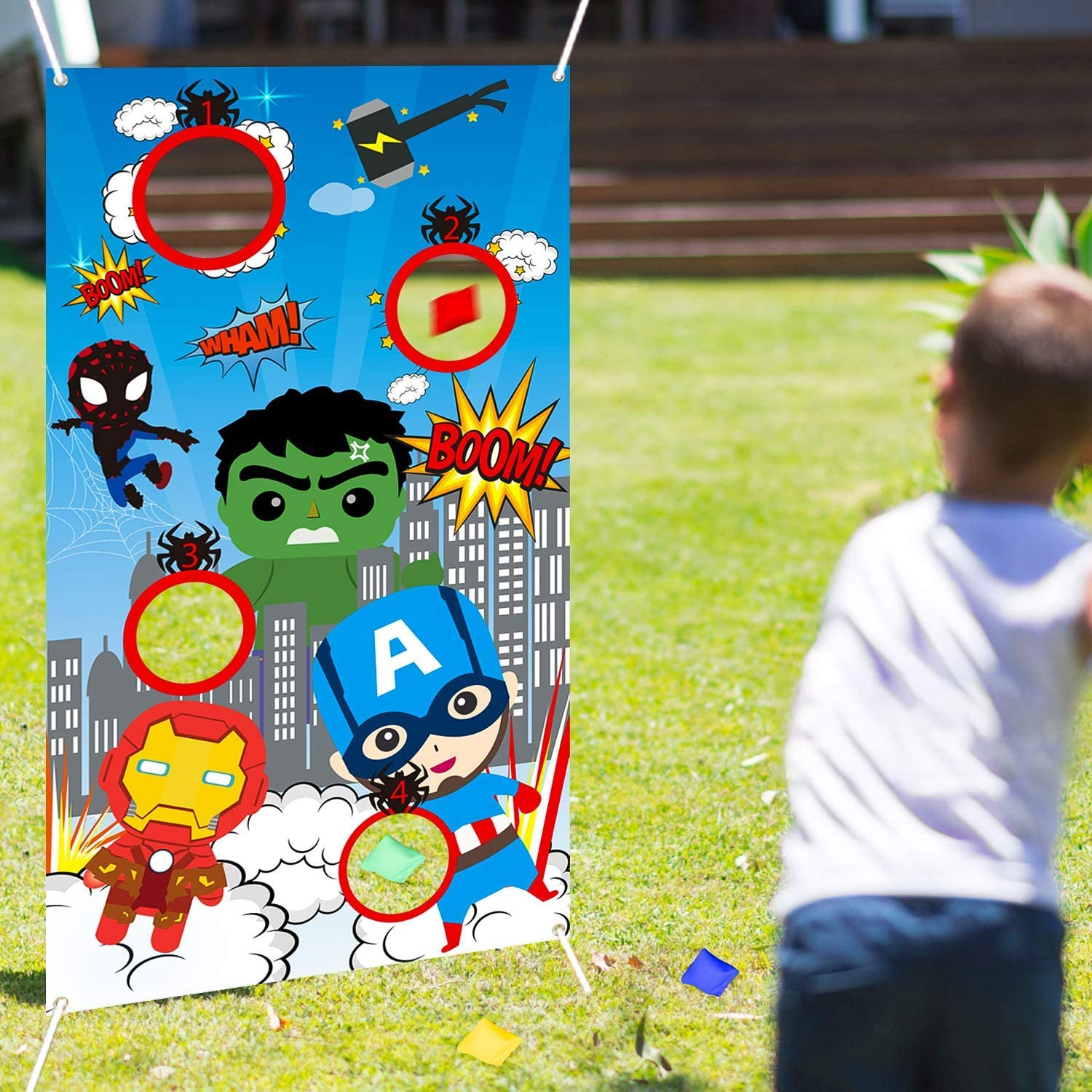 Outdoor Games Superhero Toss Throwing Game 4 Bean Bags Indoor Superhero Party Supplies for Adult Kids Carnival Banner Birthday