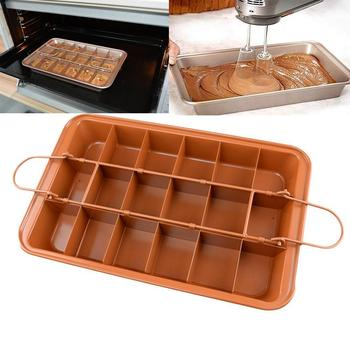 Non-Stick Brownie Pan Tin With Dividers,Heavy-Duty 8 Divided Inches,Dark By Brownie Tray,18-Cavity,12 Gold Z9V1