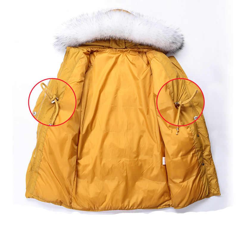 겨울 긴 AYUNSU 자켓 여자 후드 대형 너구리 모피 칼라 블랙 옐로우 코트 파커 여성 자켓 Abrigos Mujer KJ575