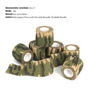 Image 5 - 6 ロール屋外迷彩テープ迷彩ラップ自己粘着テープ保護不織布ストレッチ包帯