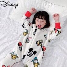 Original Disney Mickey Donald Duck Daisy Children's Flannel Sleeping Bag Baby Zipper Split Leg Plus Velvet One-piece Pajamas