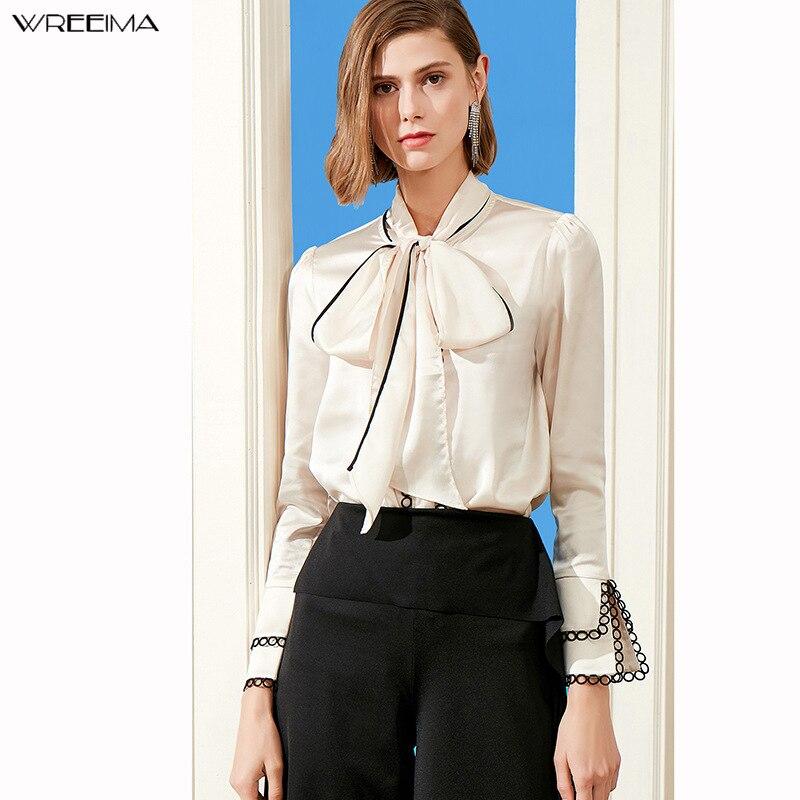 Couronne 2019 nouveau automne mode tunique femmes Blouse chemises à manches longues noeud papillon en mousseline de soie stand formel femmes Beige chemises de bureau