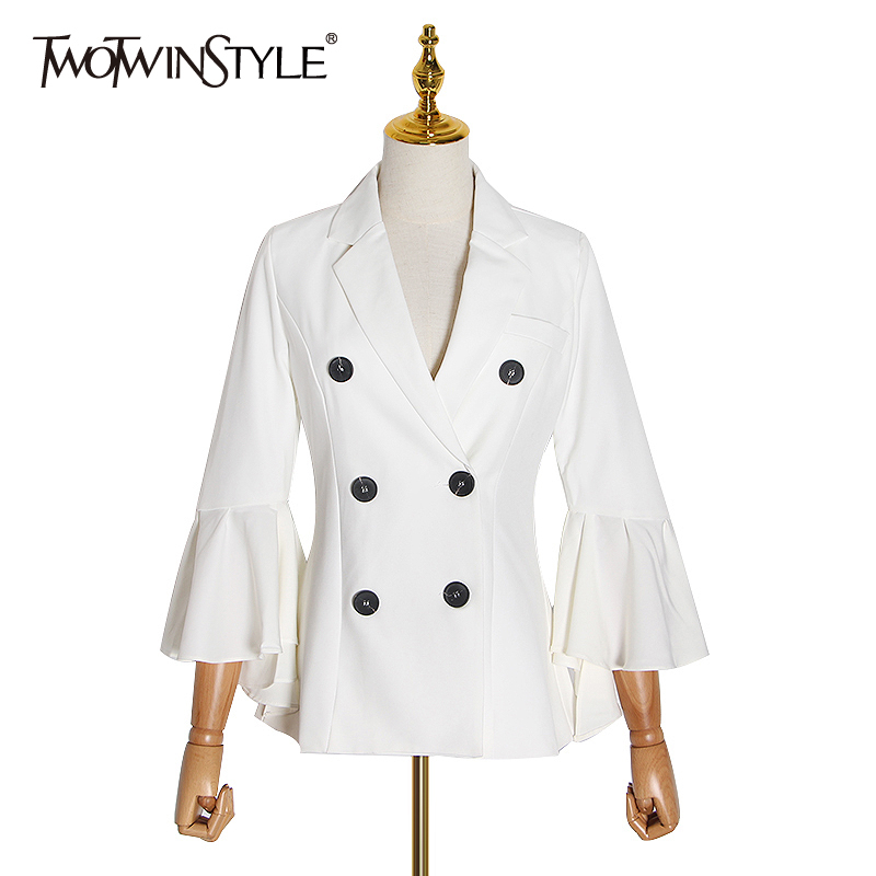TWOTWINSTYLE Elegant Suit Women Notched Flare Long Sleeve High Waist Tunic Casual Ruched Blazers Female Fashion 2020 Clothing