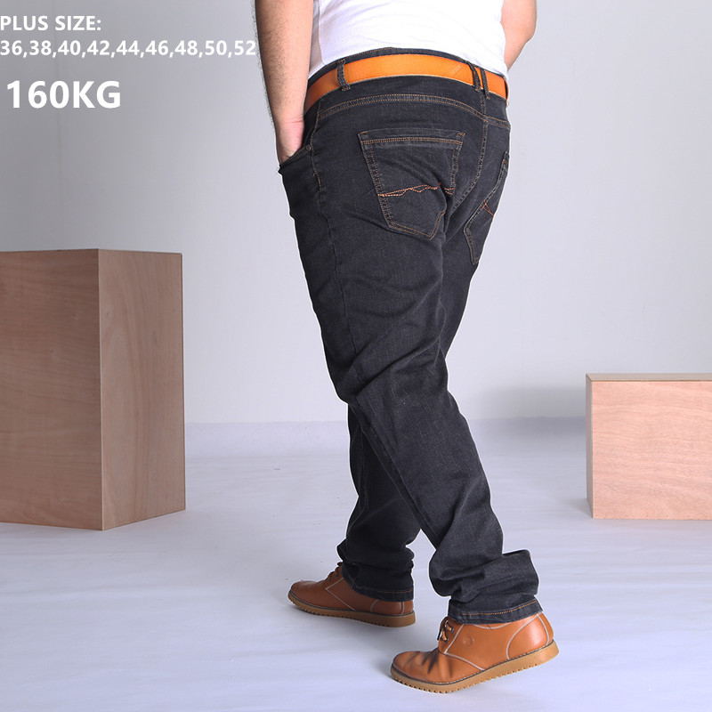 Black Jeans Men Blue Big Large Plus Size 46 48 50 52 150KG Mens Jean Elastic High Waist Man Loose Straight Denim Pants Trousers