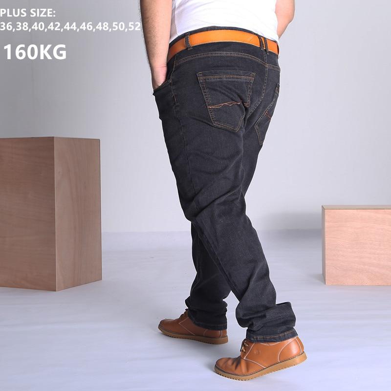 Black Jeans Men Blue Big Large Plus Size 46 48 50 52 150KG Mens Jean Elastic High Waist Man Loose Straight Denim Pants Trousers