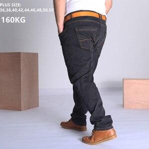 Image 1 - Black Jeans Men Blue Big Large Plus Size 46 48 50 52 150KG Mens Jean Elastic High Waist Man Loose Straight Denim Pants Trousers