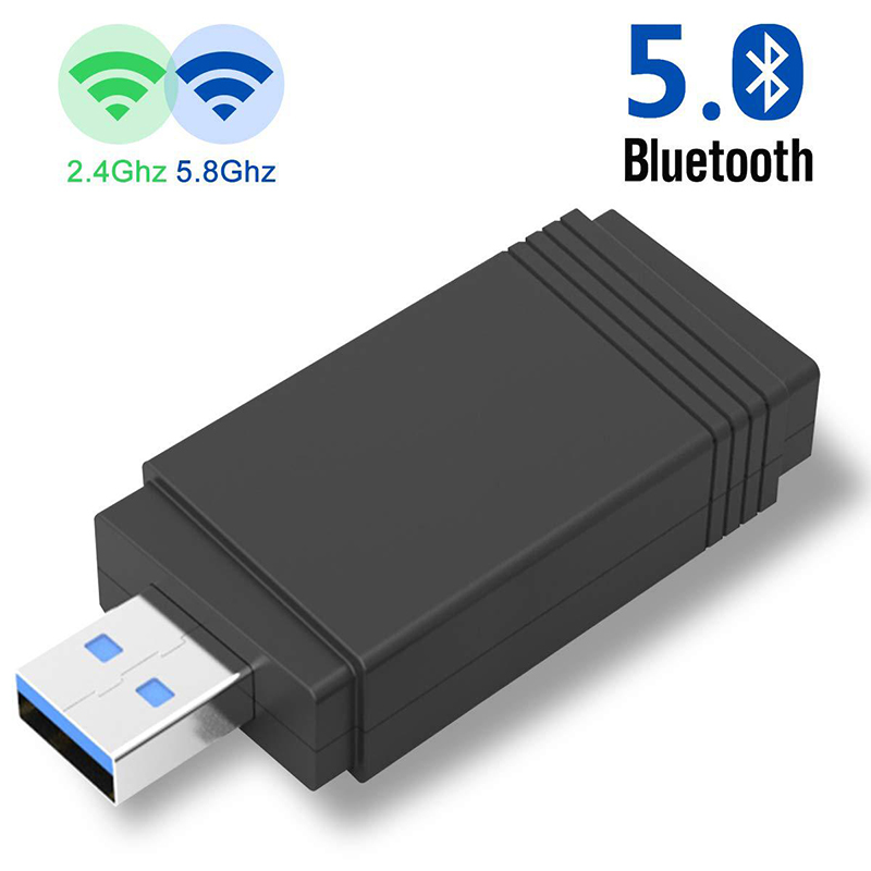 USB 3.0 Wi-fi 1200Mbps Adapter Dual Band 2.4Ghz/5.8Ghz Bluetooth 5.0/WiFi 2 In 1 Antenna Dongle MU-MIMO Adapter For PC Laptops