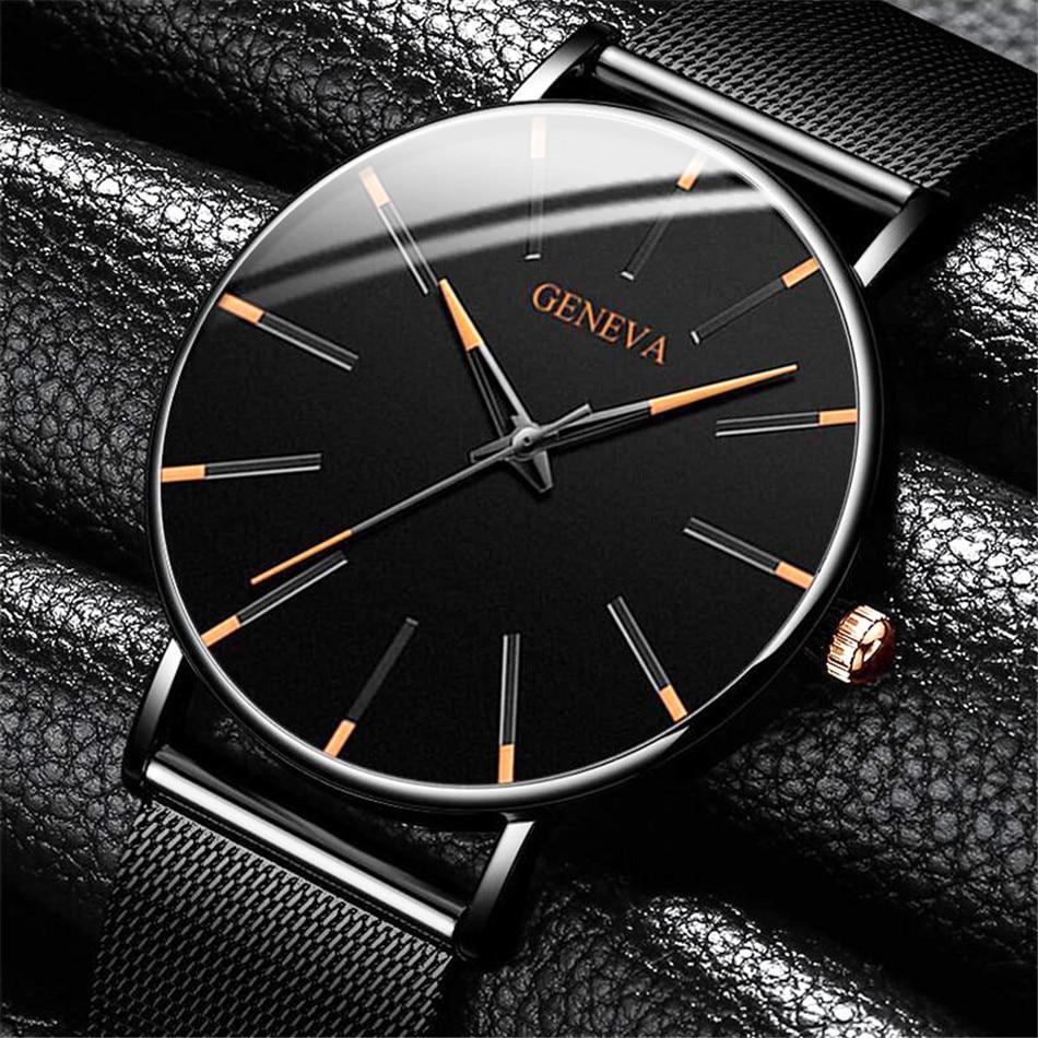 Men Fashion Ultra Thin Watches Simple Men Business Stainless Steel Mesh Belt Quartz Watch CLOVER JEWELLERY