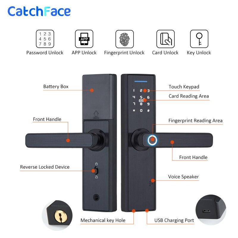 Tuya Smart APP Fingerprint Türschloss Smartcard Digitale Code Elektronische Türschloss Home Security Einsteckschloss Mit 13,56 Karten - 3
