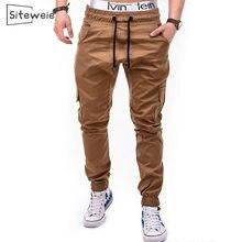 Siteweie 2020 outono calças de moletom dos homens streetwear carga moda casual rendas calças masculinas estilo gótico punk calças esportivas l501