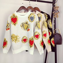 2019 Autumn Sweater Women Winter Heart Pattern Printed Knitwear Pullover Loose Jumper Vintag Warm Office Lady Knitted Sweater