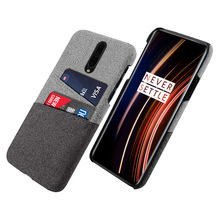 For OnePlus 7T Pro Case Slim Back Hard PC Fabric Shockproof Matte Cloth Cover One Plus Card Slot Wallet