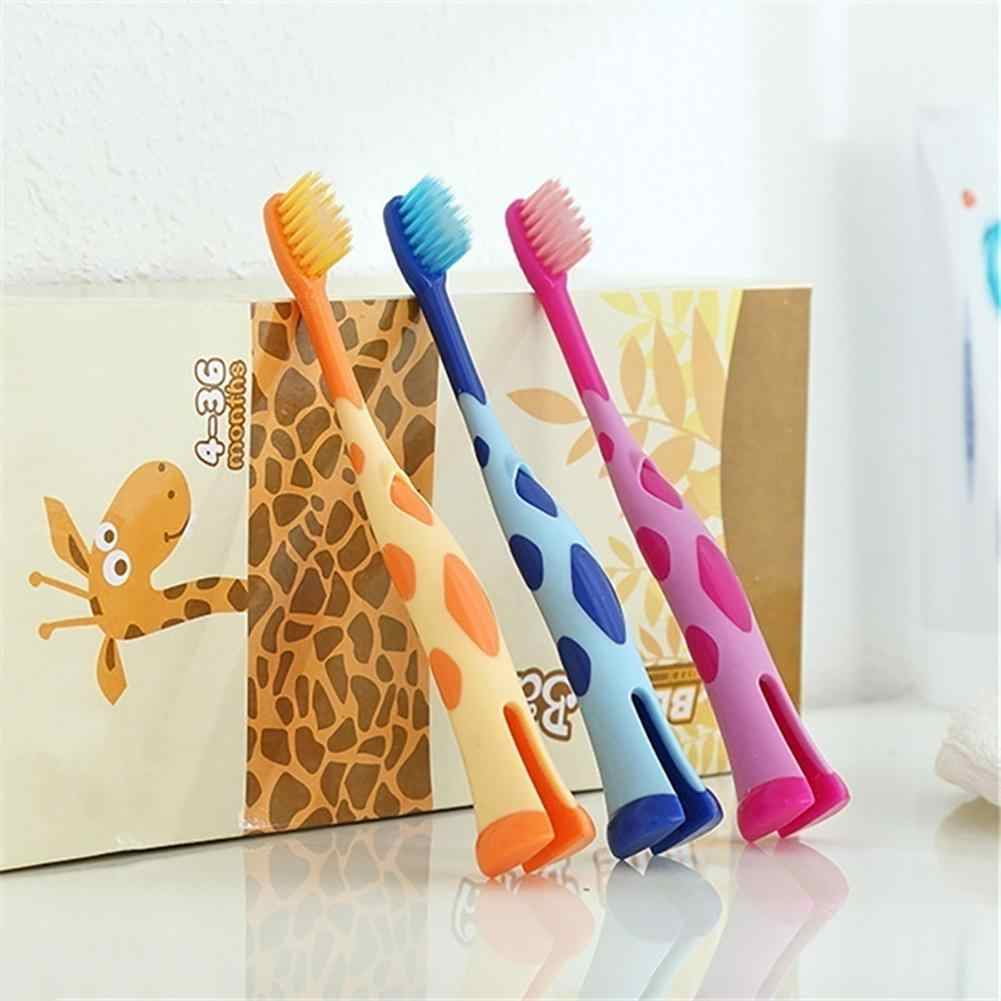 Cute Giraffe Children Training Toothbrushes Soft Stand Brush Dental Oral Care Suitable 3-12 years Develops good oral hygiene