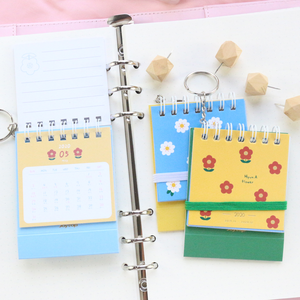 Domikee New Cute Mini 2020 Year Pocket Calendar Office School Student Flower Portable Desk Agenda Planner Stationery Supplies