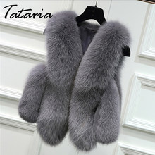 Tataria Faux Fox Fur Vest mujer invierno Casual cálido sin mangas Faux Fox Fur chalecos mujer elegante Fur Shaggy peluches Peluches(China)