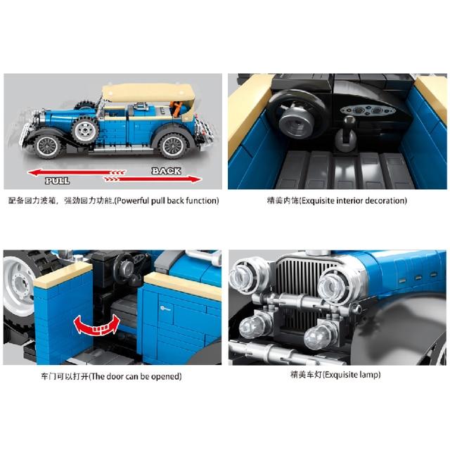 MOC 785pcs Classic Car City Pull Back Sports Car Building Block Model High-Tech Speed Roadster Kid Toy Assembled DIY Bricks Gift 2