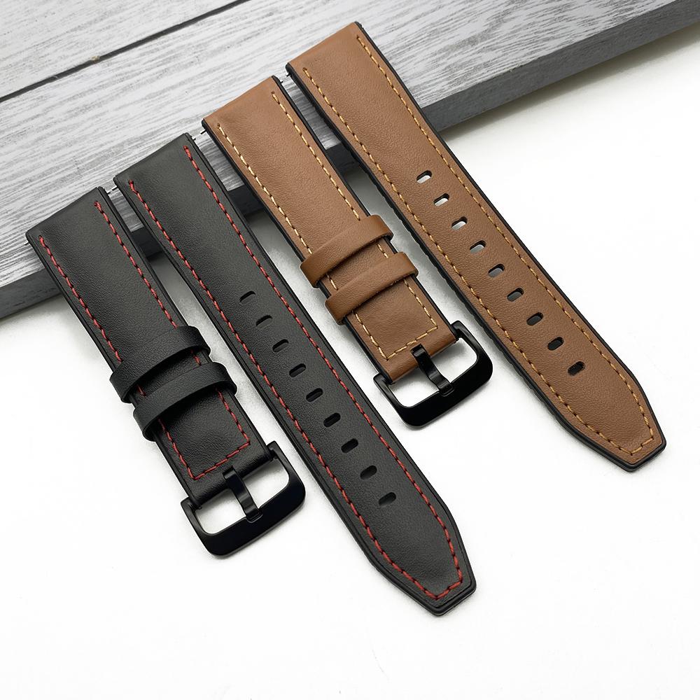 20mm 22mm Leather Watch band For Samsung Galaxy Watch 46mm Gear S3 Huawei GT2 Amazfit GTR 47mm Retro Dark Brown New Band Strap|Watchbands|   - AliExpress