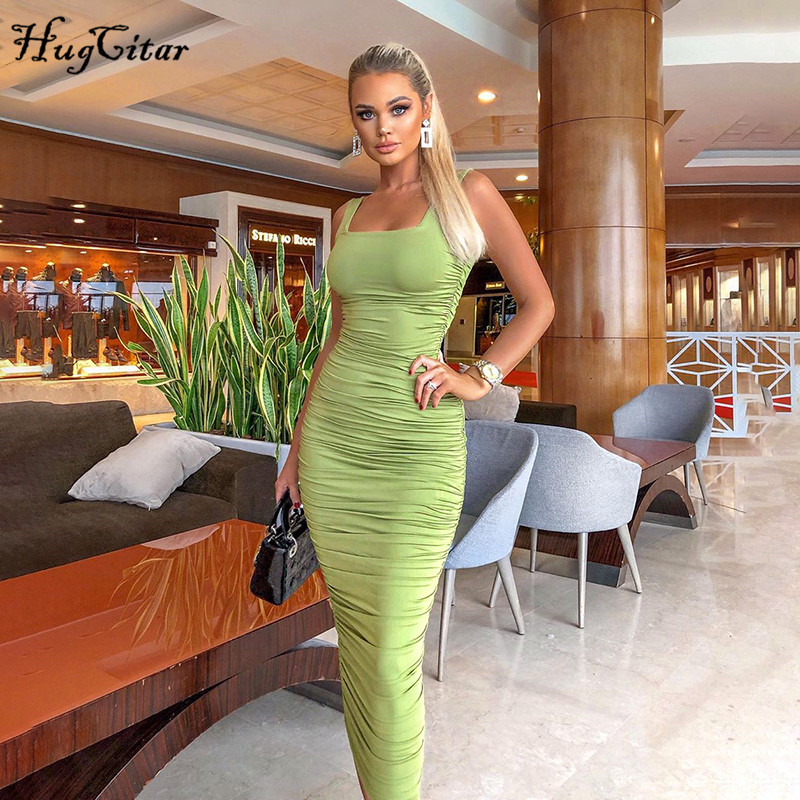 Hugcitar 2020 Sleeveless Solid Slim Sexy Midi Dress Spring Women New Arrivals Christmas Party Elegant Outfits Streetwear