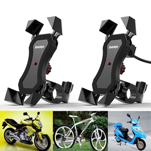 Image 1 - Motorcycle Navigation Holder Moto Bike handlebar Phone Charge USB Charging Mount Clip Bracket for Mobile CellPhone