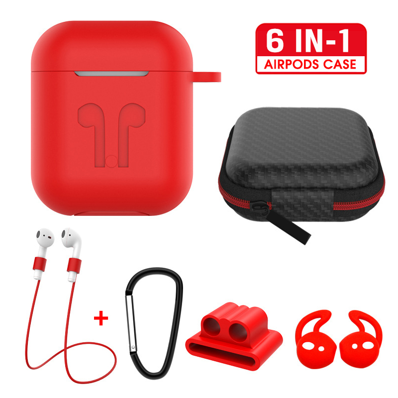 6 IN-1 Cases Lanyard Carabiner Protective Case For AirPods Headphone Silicone Cover For Air Pods 2 Case Accessories Storage Box