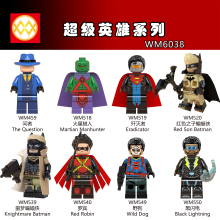WM6038 Single Sale DC Super Heroes Red Son Batman The Question Robin Wild Dog Plastic Building Blocks Children Gifts Toys DIY недорого