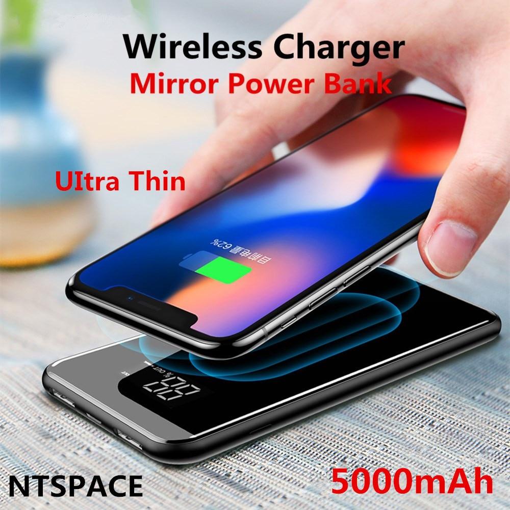 NTSPACE 5000mAh Double USB Chargeur Sans Fil Externe chargeur de batterie portable Qi Sans Fil Chargeur de batterie externe Pour iPhone Samsung PowerbanK