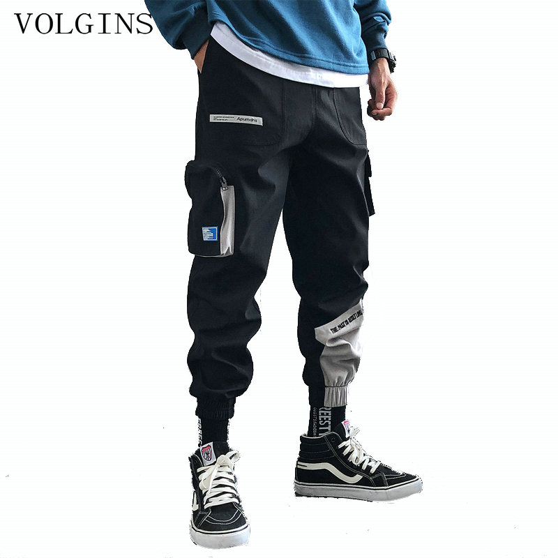 Streetwear Hip Hop Joggers Men Korean Style Harem Pants Men Casual Cargo Pants Fashion Black Men Trousers