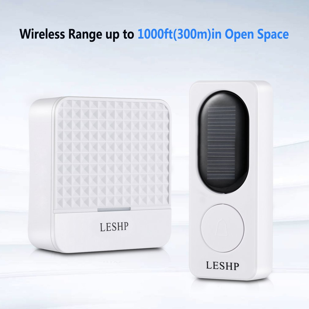 Waterproof Doorbell Kit Solar Wireless Doorbell 1000 Ft Long Range 52 Tunes 4 Levels Volume Easy Setup Plug & Play White