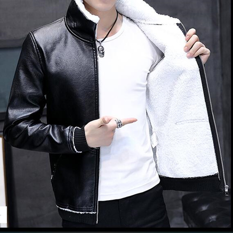 2019 New Winter Motorcycle Male Leather Jacket Men Windbreaker PU Jackets Male Outwear Warm PU Baseball Jackets Size 4XL Men Fur