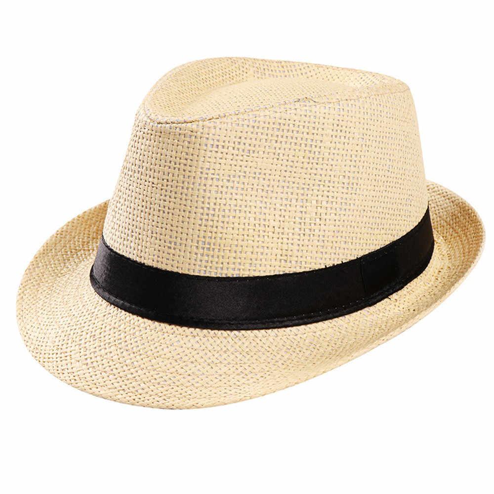 แฟชั่น Unisex Casual Trilby นักเลงหมวกหาดซันฟางของแข็งหมวก Sunhat ขายส่ง