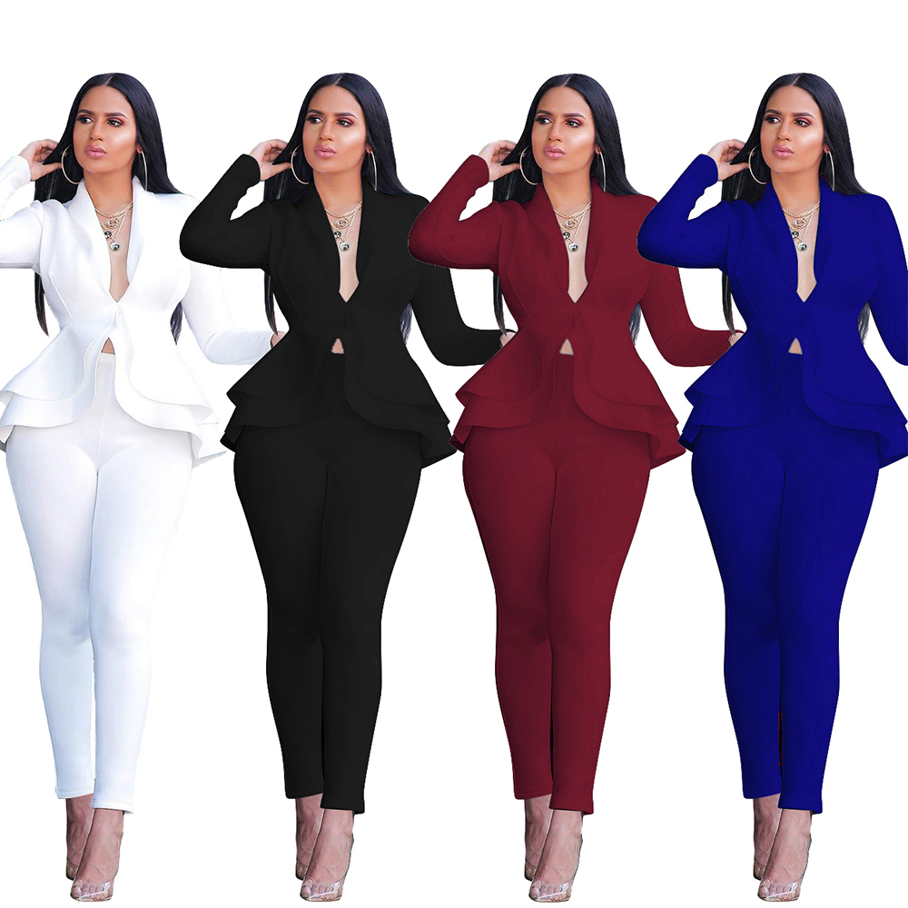 Fashion Blazers Suits Women Long Sleeve Ruffles Jacket +Pencil Pant Two Piece Set Slim Office Tracksuit Outfits Business Uniform