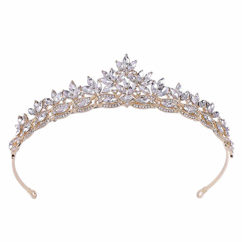 2019 venda quente simples folhas rosa ouro vermelho azul cristal tiaras casamento noiva coroas de noiva bandana festival jóias de cabelo
