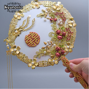 Image 1 - Kyunovia Gold bouquet luxury Bridal Bridal Bouquet Ivory Great Gatsby wedding Brooch Fan Bouquet  D150