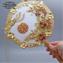 Kyunovia الذهب باقة الفاخرة الزفاف الزفاف باقة العاج غاتسبي العظيم بروش زفاف مروحة باقة D150