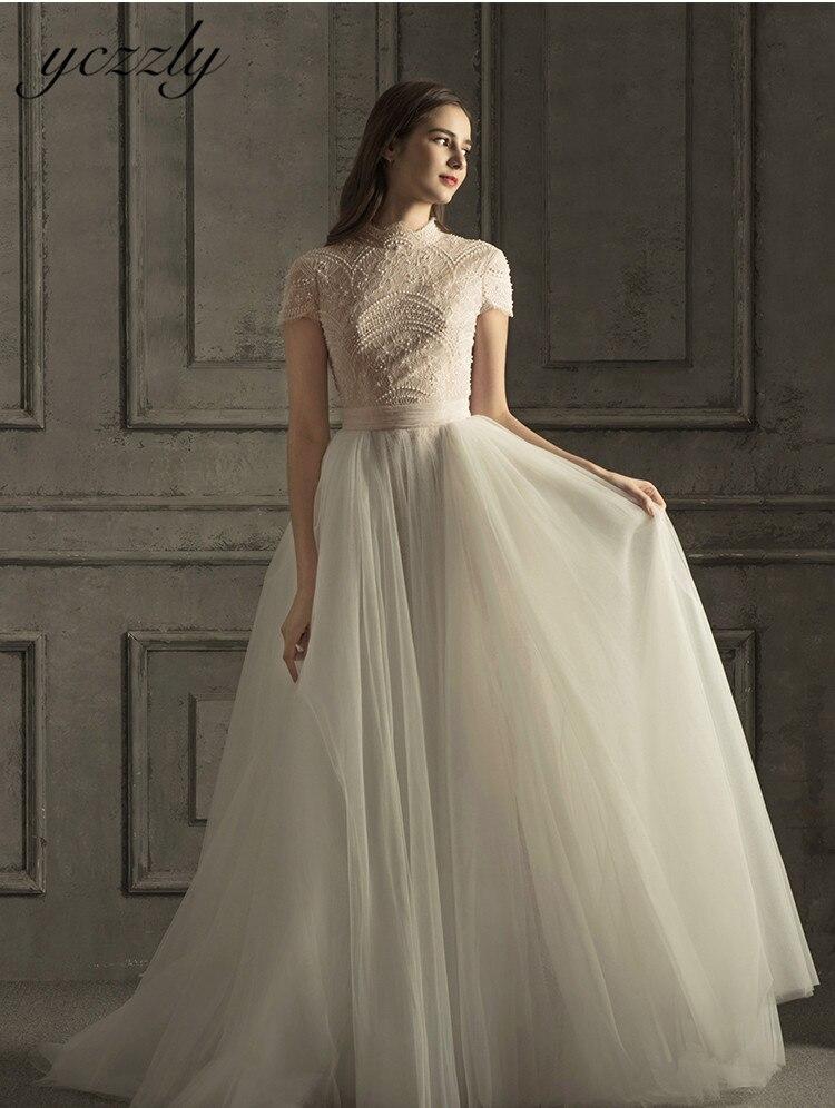 Vintage High Neck Mermaid Wedding Dresses With Detachable Skirt Short Sleeves Lace Pearls Wedding Dress Plus Size Vestido Novia