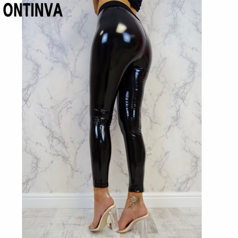 Black Wetlook Push Up Leggings For Women Slim Shinny High Waist Legins Femme Autumn Winter Faux Leather S M L XL Mujer Hot Pant