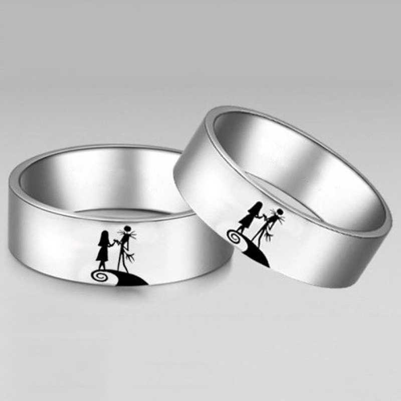 Anillo minimalista Jack y Sally para mujer anillos de pareja de titanio accesorios de joyería de encanto regalo de Navidad