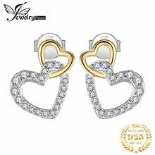 JewelryPalace Infinity Love Heart CZ Stud Earrings 925 Sterling Silver For Women Korean Fashion Jewelry 2020
