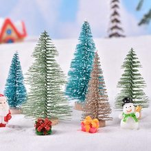Small DIY Christmas Tree Fake Pine Tree Mini Sisal Bottle Brush Christmas Tree Santa Snow Frost Village House Party Gift(China)