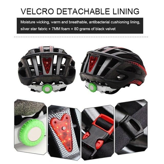 Capacete de ciclismo estrada mtb corrida capacete da bicicleta capacete ciclismo esportes ao ar livre montanha capacete vermelho led cauda luz equipamentos 5