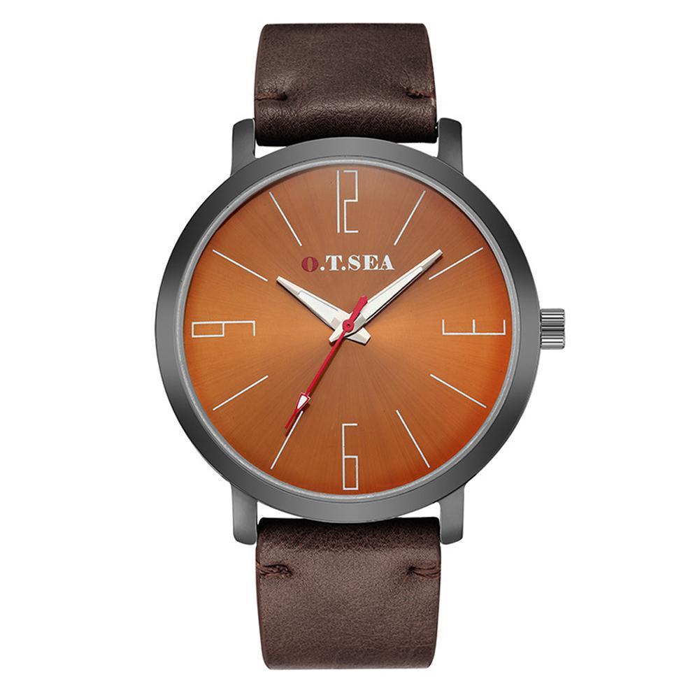Men Women Wristwatch Couple Waterproof Luminous Leather Belt Quartz Movement Pointed Watch Wristwatch